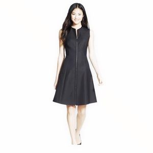 7 For All Mankind Black Sleeveless Zip Front Dress